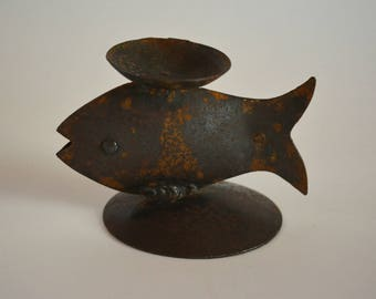 Iron fish figurine, small oil lamp or candle holder, vintage Japanese