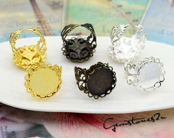 10pcs Brass Ring Base Blanks, Glass Domes Ring Settings, Adjustable Filigree Ring W/ Double Lace 12mm Round Bezel Setting