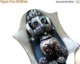 Rare Vintage Poodle Brooch - Poodle Jewelry - Collectible Poodle Pin - Silver Tone