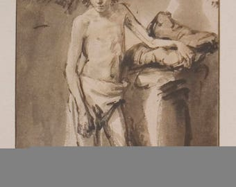 van Rijn Rembrandt-Life Study of a young man standing-1930 Lithograph
