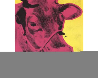 Andy Warhol-Pink Cow on Yellow Background-1989 Poster