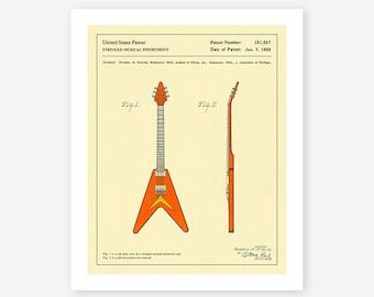 GUITAR PATENT 1958 (Giclée Fine Art Print, Photo Print or Poster Print)