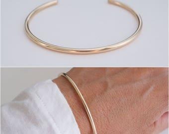 14K goldfilled cuff bracelet - classic gold cuff - wire gold-filled cuff bracelet - 10 gauge cuff bracelet