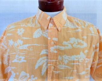 Aloha vintage 80's 90's Phil Edwards Reyn Spooner apricot yellow orange hawaiian shirt white reverse print Papeete Tahiti palm tree shell XL