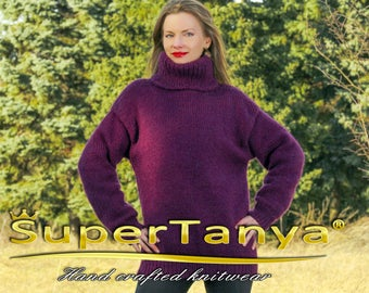 Purple wool sweater hand knitted turtleneck jumper by SuperTanya