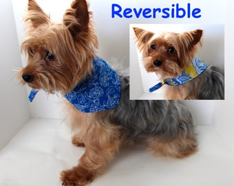 Blue Dog Bandana, Medium and Large, Reversible tie-on bandanas for dogs, Blue Yellow patchwork, In Stock, Fashion Dog Clothes