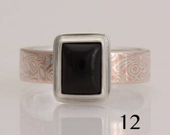 Mokume Gane Ring, onyx, copper and sterling silver, size 12, #868.