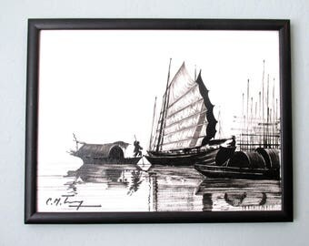 Vintage painting water scene, Chinese junk boats, Black and white silhouette painting
