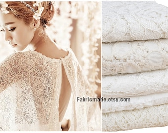Off White Lace Cotton Fabric, Hollowed Flower Cotton Lace Fabric For Bridal Dress Curtain- 1/2 yard