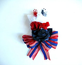 Patriotic floral corsage, Women's Corsage, Holiday corsage, Red white & blue rose corsage, Wrist corsage, Wearable corsage, 4th of July