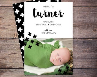 Printable Birth Announcements, Baby Announcement, Swiss Cross, New Baby Invite, Printable, Custom Photo Card –Turner