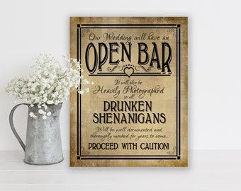 Drunken Shenanigans Open Bar Wedding Sign | PRINTED Sign, Wedding Bar Sign, Open Bar Sign, wedding signage, rustic wedding, country wedding