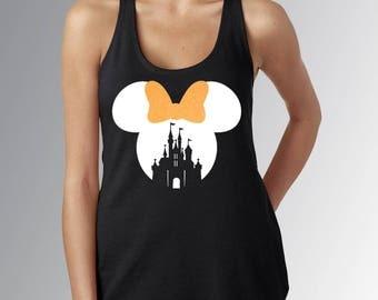 Minnie Mouse Castle Cut Out* Women's Black Racerback Tank Top* White Design/Neon Orange Glitter Bow* Disneyland/Disney World HALLOWEEN Shirt