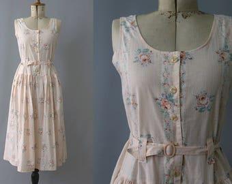 1990s petites roses cotton Dress sleeveless / 90s roses cotton summer dress