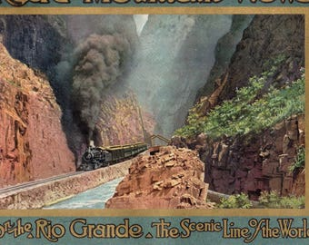 Anique 1914 Rocky Mountain Views on the Rio Grande The Scenic LIne of the World 24 Colored Engraved views from photographs D& RG RR Nice