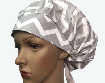 Bouffant Surgical Scrub Hat - Grey and White Chevron Design Bouffant Scrub Hat - Ponytail Scrub hat - Custom Scrub Hat - Lined Scrub Hat