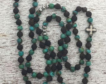 108 Mala Necklace with Rudraksha Beads and Turquoise
