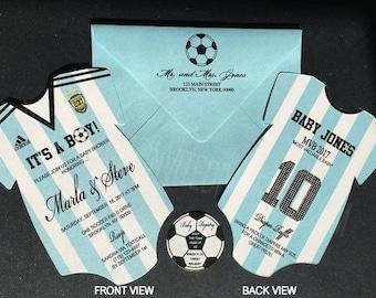 Soccer Jersey Onesie Invitation, Die Cut Soccer Invitation, Soccer Baby Shower Invitation