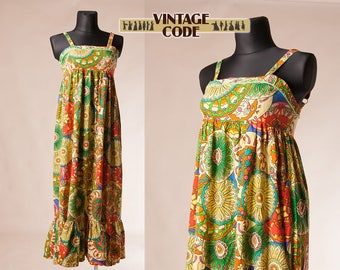 Vivid colorful cotton Maxi dress / Summer Cotton Maxi Strap dress Sun Dress / Bright Multicolor Groovy maxi dress / size Large