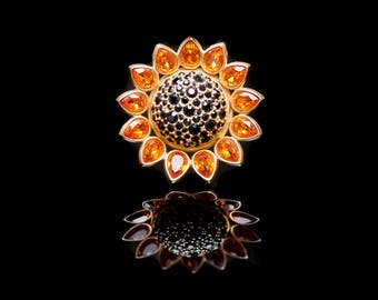 SWAROVSKI SUNFLOWER Crystal Pin Brooch SIGNED 22KT Gold Plated Retired