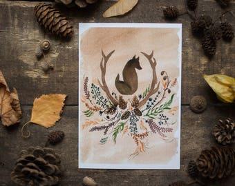 Fox totem - postcard