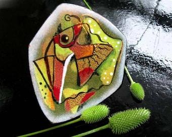 Enamel Fish Brooch, Mid Century Modern Artisan Enameled Copper, Huge Angelfish Yellow Lime Metallic Reds, Hexagon Shield, Pisces Zodiac Sign