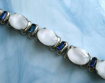 Moonstone Glass Ovals Bracelet, Large Silvery White Opaque Domes, Translucent Milky Cloud Stones, Sapphire Deep Blue Rhinestone Baguettes