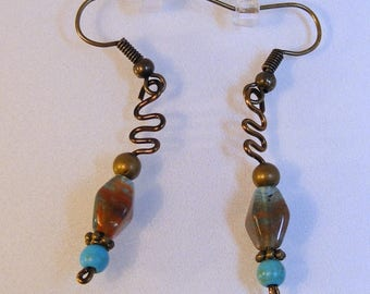 Campside Sunrise Turquoise Antique Brass Earrings