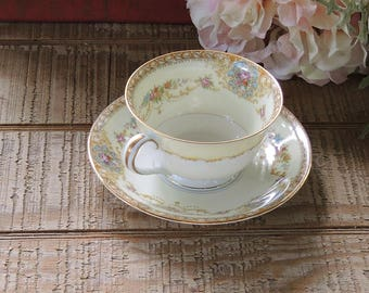 Antique Noritake China Coypel Footed Tea Cup and Saucer Set Ca. 1933