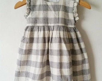 CLEARANCE Grey/Cream check dress, linen dress, sleeveless dress