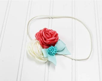 CLEARANCE 40% OFF Darling headband in fun colors of aqua, coral and cream (RTS)