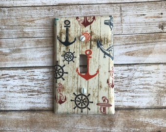 Nautical Switch Plate Cover, Beach Switch Plate Cover, Anchor Beach Decor, Nautical Decor, Ships Wheel, Nautical Decor, Switch Plate Cover