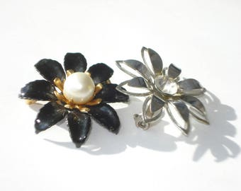 Vintage Rhinestone Flower Pin Pair Silver Gold Tone Small Brooch - Pearl and Rhinestone Jewelry 1960s