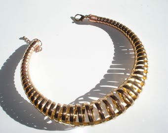 Chunky Brass / Copper Spiral Necklace - Fashion Jewellery - Large Round Gold Tone  -1990s