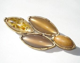 Vintage Gold Tone Brown Brooch - Retro Fall Fashion Pin 1980s