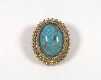 Vintage Brooch - Turquoise Gold Tone Pin Costume Jewelry 1970s
