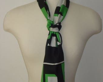 Vintage Long Head Scarf - Cube Bold Pattern Scarves - Womens Green Accessories 1970s