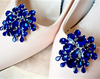 Blue Rhinestone Shoe Clips,Blue Bridal Shoe Clips,Blue Wedding Shoe Clips,Blue Crystal Shoe Clips,Blue Shoe Jewelry,Something Blue