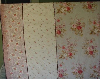 Vintage Shabby Cottage Duvet Cover, King Bed Size, Dreamy Cottage Chic Floral Prints, w/ Roses , 5 Different Coordinating Fabrics