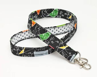 Teacher Lanyard, Swivel Clip ID Holder, Badge Neck Strap, Cute Key Lanyard with Key Ring - colorful math black board with white dots