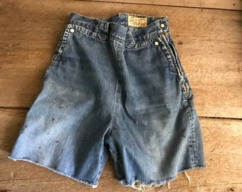 1950s Lee Frontier Lady Jean Shorts, High Waisted, Indigo Blue Denim, Side Zippers