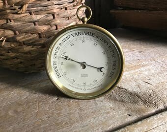 Antique French Brass Barometer, Bordeaux France, Home Decor