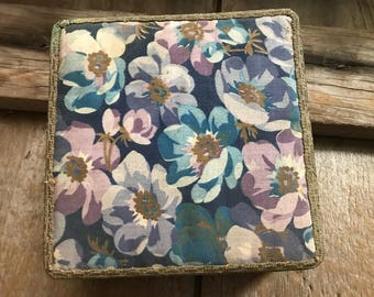French Floral Fabric Boudoir Box, Fabric Covered Sewing Box, Jewelry, Dressing Table