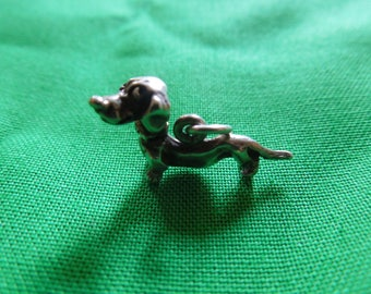 Vintage Silver Pendant or Charm, Dog with Articulated Head, Stamped Sterling.