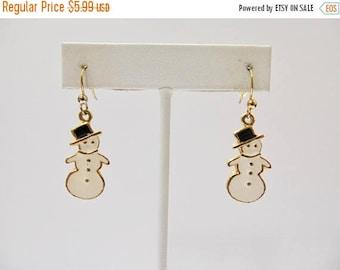 On Sale Vintage Enameled Snowman Earrings Item K # 872