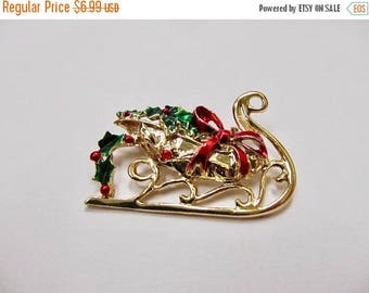 On Sale Vintage Enameled Christmas Sleigh  Pin Item K # 2729
