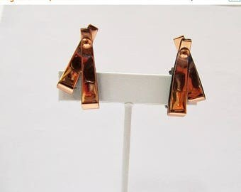 On Sale RENOIR Modernist Copper Earrings Item K # 3273