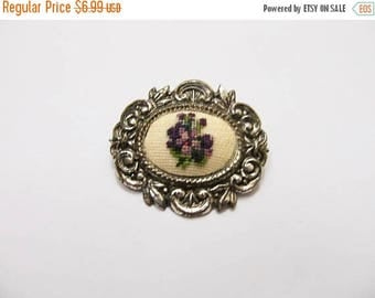 ON SALE Vintage Needlepoint Floral Pin Item K # 1139