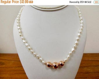 ON SALE HONORA Fresh Water Pearl and Bronze Beaded Necklace Item K # 2400