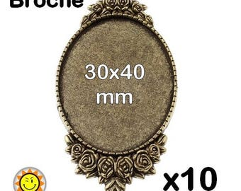 x 10 fancy bronze brooch finding cabochon 30x40mm